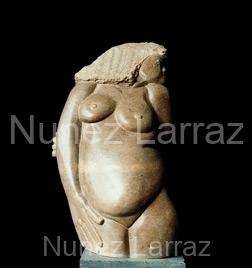 Anna ziet gij al iets komen?, steatiet (ook in brons), 22x44x18cm