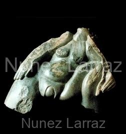 Geboorte schreeuw, serpentijn (ook in brons), 50x41x24cm