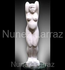 Meisje, portugees marmer, 80x15x10cm