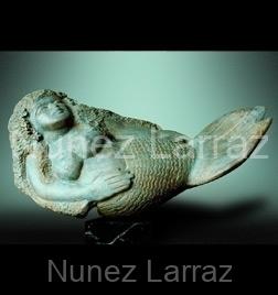 Zeemeermin, serpentijn (ook in brons), 42x21x16cm